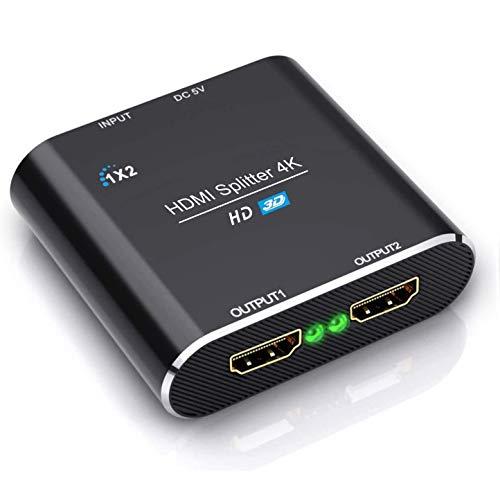 HDMI Splitter, ABLEWE Aluminium 4K@30Hz HDMI Verteiler 1 In 2 Out Unterstützt HDCP, 4K, 3D, UHD, 1080P, HDMI Splitter 4K 1 auf 2 für Xbox, PS4, PS3, Roku, Blu-Ray-Player, Firestick und HDTV