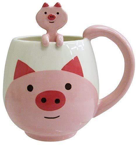Funny Coffee Mug 15 oz Pig Coffee Mug with Spoon Funny Mug Novelty Cup Ceramic Mug Gift for Women Men Birthday Festival Christmas