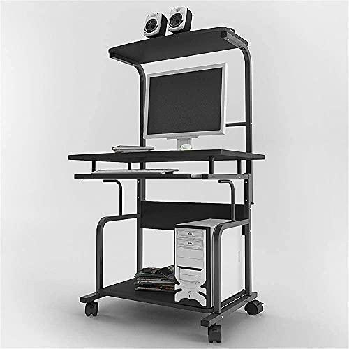 Mesa de bandeja portátil, estación de trabajo para computadora de pie, escritorio de escritorio para mini computadora Mesa para el hogar Escritorio moderno minimalista móvil doble Escritorio negro (Co
