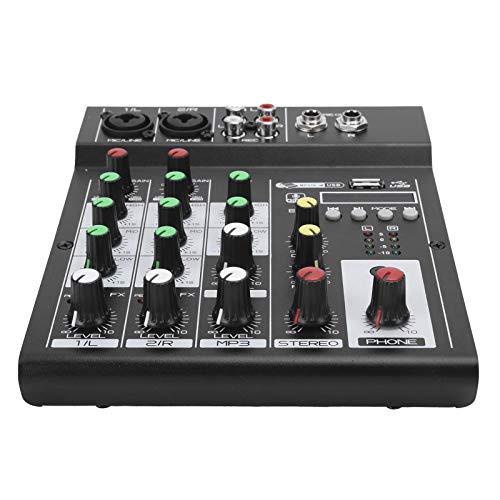 Console audio portatile a 4 canali, console di missaggio BT Mixer audio digitale Effetto riverbero incorporato, adatto per karaoke domestico, webcast, registrazione musicale, ecc.(Unione Europea)