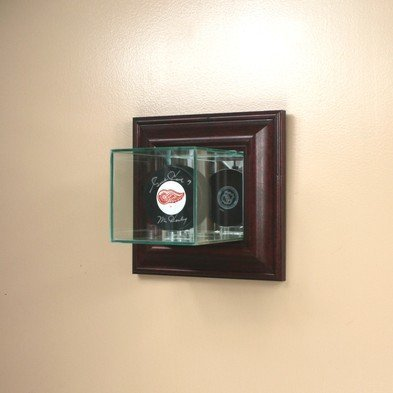 Wall Mounted Glass Single Hockey Puck Display Case with Cherry Wood Molding by Decade Awards