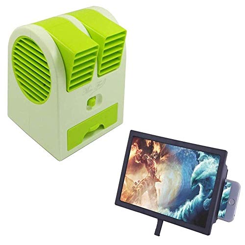 Cospex Combo of Mini Portable Bladeless Small Air Conditioner Water Air Cooler & F2 Mobile Phone 3D Screen Magnifier