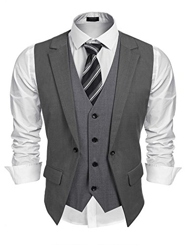 Coofandy Mens Formal Fashion Layered Vest Waistcoat Dress Vest,Grey,Medium