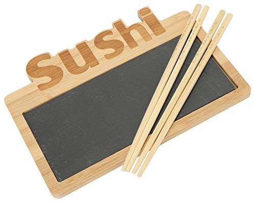 COM-FOUR® 3-delige sushi serveerset - stijlvolle serveerschaal van leisteen en bamboehout - met stokjes (3 delen)