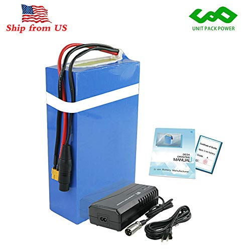 Co-well Electric Bicycle Battery, 48V 20AH Waterproof PVC Lithium Battery, Ebike Battery Pack with Charger and 30A BMS Protection for 1000W 750W 500W Bike Motor Mountain Bicycle