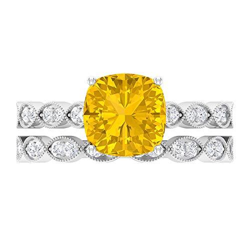 Conjunto de anillos solitario, anillo solitario corte cojín, moissanite alianzas de boda para mujeres 14K Oro blanco