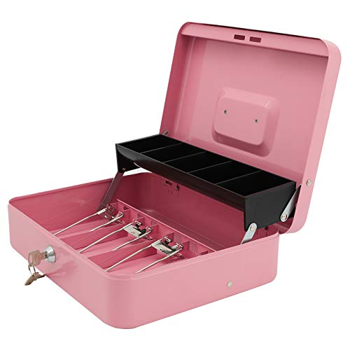 """Xydled Cash Box with Money Tray and Key Lock,Tiered, Cantilever Design,4 Bill / 5 Coin Slots,11.8"""" x 9.5"""" x 3.5"""""""
