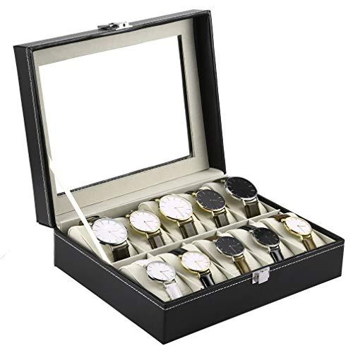 SZIYV Uhr-Anzeigen-Box, 10 Slots PU-Leder-Schwarz-Uhr-Kasten-Kasten-Schmucksache-Anzeigen-Speicher-Organisator-Halter Verpackung Sammlung Casket for Männer und Frauen