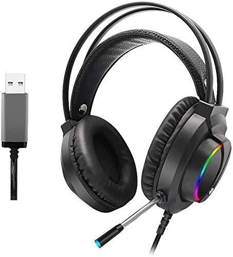 FAGavin 7.1 Buntes RGB-Leucht Kopfhörer, Gaming Headset - Gaming Headset 3.5mm Over-Ear-Stereo-Gaming-Kopfhörer-Mikrofon for N-Schalter