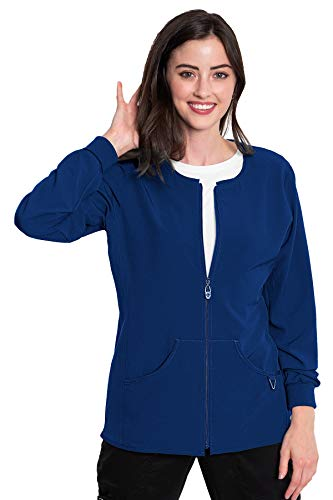 Med Couture Zip Front Warm Up Scrub Jacket for Women, Galaxy Blue, 3X-Large
