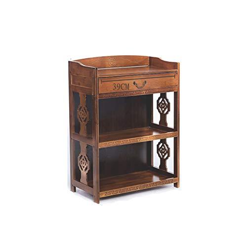 KELE Retro Bücherregal, Massivholz Kreativ Bodenstehende Chinesisch Antik Bücherregal Einfache Wohnzimmer Lagerschränke Bambus Pflanzenständer-B 53X29X82cm