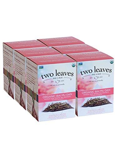 Two Leaves and a Bud Organic Bai Mu Dan Tea Bags, Whole Leaf White Tea in Sachets, 15 Count (Pack of 6)