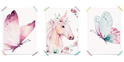 myprinti® 3er Set Kinderzimmer Poster Babyzimmer Bilder   Mädchen Baby   Wanddeko Bildergalerie Deko   Größe DIN A3   Schmetterling rosa, Einhorn Blumen, Schmetterling blau