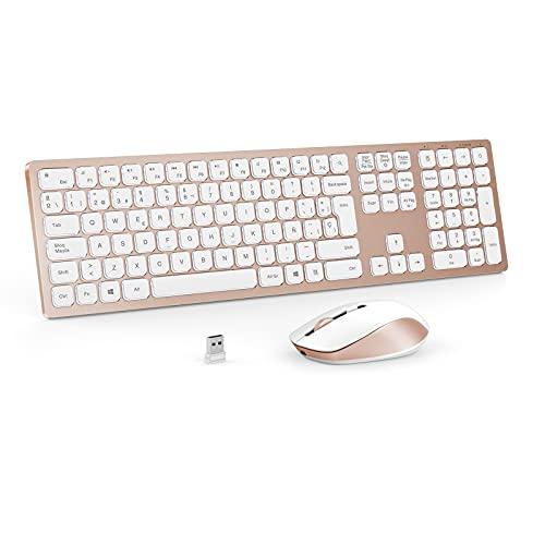 Combo de Teclado y Ratón Inalámbricos Retroiluminados, Recargable, 2.4 GHz USB (QWERTY Español Ñ), Teclado Diseño Compacto para PC, Ordenador portátil,Windows, Oro Rosa