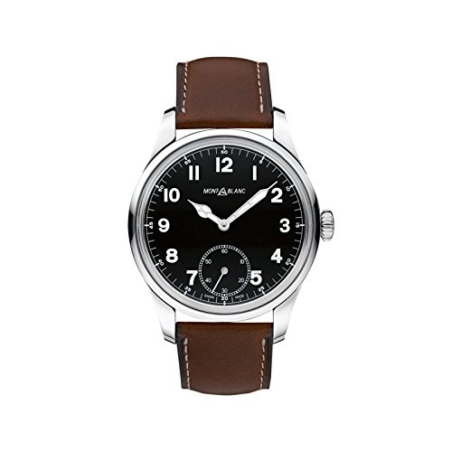 Montblanc Timewalker automatico nero quadrante Brown in pelle mens orologio...
