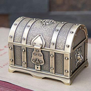 Tutoy Joyero de cofre del tesoro pirata de aleación de estaño pequeño antiguo de bronce/antiguo - A