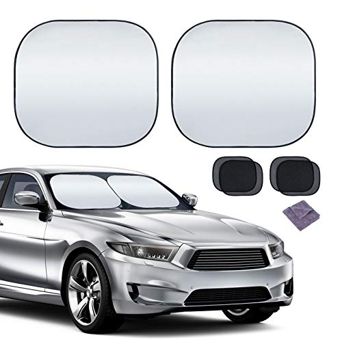 Car Windshield Sun Shade 2 Pieces, Foldable Car Front Window Sunshade for Sun UV Protection, Reflective Material Keep Your Vehicles Cool and Suitable for Most Cars SUVs Trucks (Large, 28'x31')
