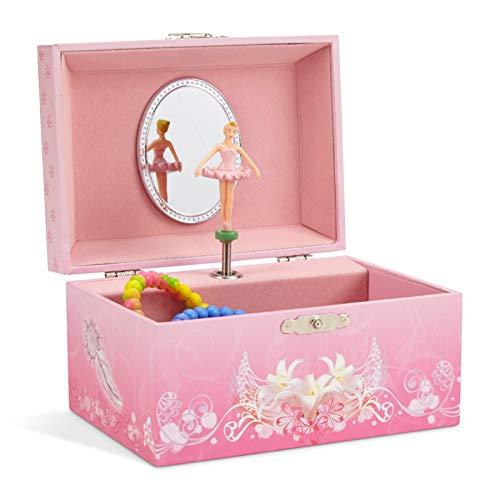 Jewelkeeper - Scatola Musicale per Ragazze Porta Gioielli con Ballerina Roteante, Colore Rosa - Melodia Lago dei Cigni