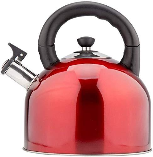 Bouilloire induction Bouilloire ménagère acier inoxydable à grande capacité cuisinière à induction à gaz avec sifflet automatique à ébullition eau 4,4 l 22,2x19x25.7cm WHLONG (Color : Red)
