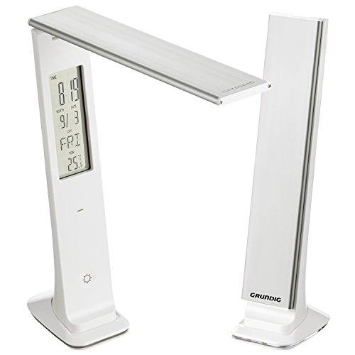 GRUNDIG Kabellose LED Schreibtischlampe klappbar | 9W-29LED | Digitaldisplay mit Uhr, Kalender und Thermometer| Dimmbar über Touch Sensor I integrierter Akku aufladbar über USB | Tageslicht