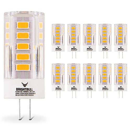 Brightbull Premium G4 LED – [10x] G4 LED Warmweiss [3000K/2,5W/270LM] – 30.000h Lebensdauer – 360° Ausleuchtung – Ersatz für 20W-Glühlampe – Flackerfrei [Effizienzklasse A+]