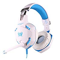Megadream Kotion Each G2100 Vibration 3.5mm LED PC Gaming Bass Stereo Noise Isolation Headset Headband With Mic & Volume Control for Laptop Computer Skype Online Chat Blue & Black by Megadream