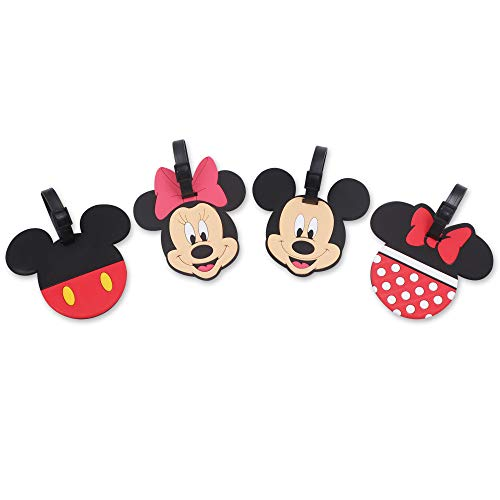 Finex 4 Pcs Set Mickey Mouse and Minnie Mouse Silicone Travel Luggage Baggage Identification Labels ID Tag for Bag Suitcase Plane Cruise Ships with Belt Strap