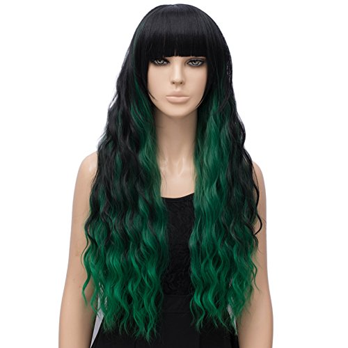 Netgo Women's Green Mixed Black Wig Long Fluffy Curly Wavy Hair Wigs for Girl Synthetic Party Wigs