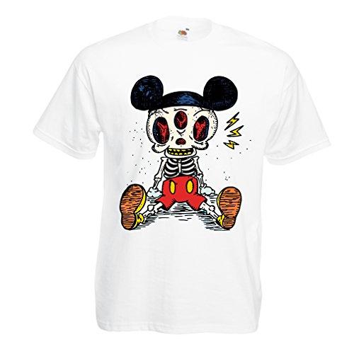 lepni.me Camisetas Hombre Esqueleto de un ratón (X-Large Blanco Multicolor)