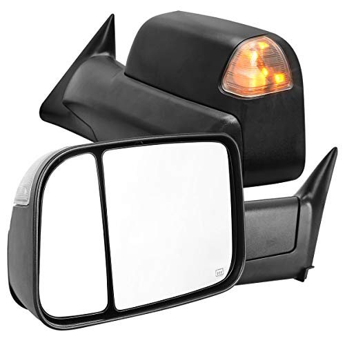 AUTOSAVER88 Towing Mirrors Compatible with 1998-2001 Dodge Ram 1500, 1998-2002 Dodge Ram 2500 3500, Power Heated Tow Mirrors w/Turn Signal Light (ATMR0012)