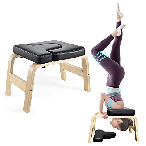 KEDY Yoga Headstand Bench, Yoga Inversion Stool for Home & Gym, Upside Down Chair for Shoulder Stand & Handstand, Wood Frame and Thick PU Pads, Relieve Fatigue and Body Building (Black)