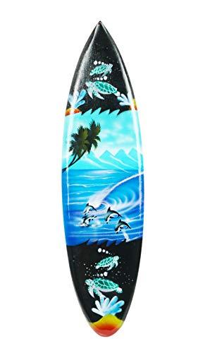 Asia Design Miniatur Surfboard Dekosurfboard Surfbrett Holz Wellenreiten Höhe 20 cm inkl. Holzständer Dekoration Nr 5