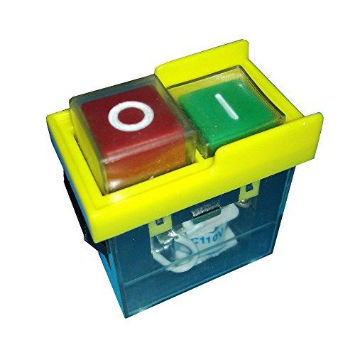 KEDU Industrie Wasserdicht Druckknopf Schalter Taster 250V 6(4) A Elektromagnetische kippschalter für Bohrmaschine Kreissäge Bandsägen,KJD6 5E4,Gelb