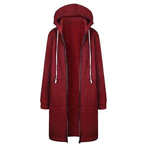 Sweatshirt Damen Kapuzenjacke Heißer Lange Mantel Hooded Jacke Langarm Sport Outwear Slim Fit Freizeitjacke Winterjacke Windbreaker Kleidung Übergangs Trenchcoat Mantel Outwear