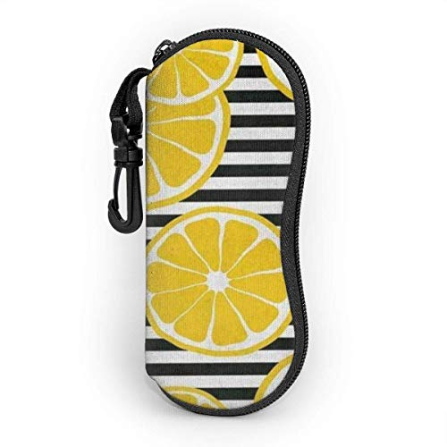 SDFGJ Brillenetui Soft With Carabiner, Tragbares Sonnenbrillenetui Yellow Lemon With Black_White Stripes