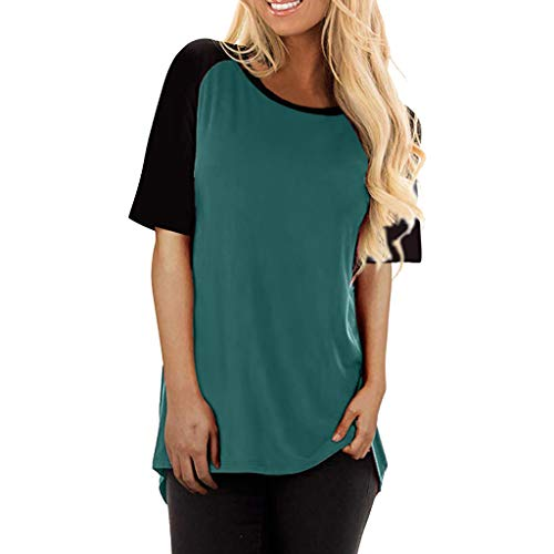 Reokoou Women Round Neck Color Block Short Sleeve Loose Fit T-Shirt Tops Summer Casual Blouse Green
