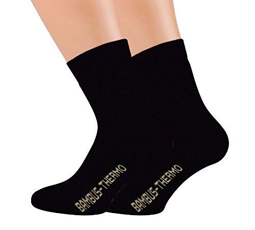 Vitasox 43057 Damen Herren Thermo Socken Bambus Bambussocken Thermosocken ohne Gummi ohne Naht Schwarz 4 Paar 43/46