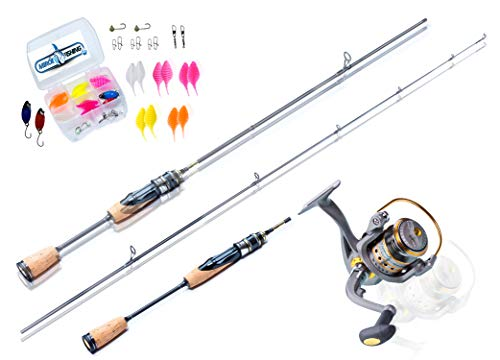 Ultralight Angelset Ready for Fishing ! 180cm UL-Carbonrute + Angelrolle Expert500 mit Schnur + Köderset. Spinnrute - Steckrute 2-teilig - extrem biegsam