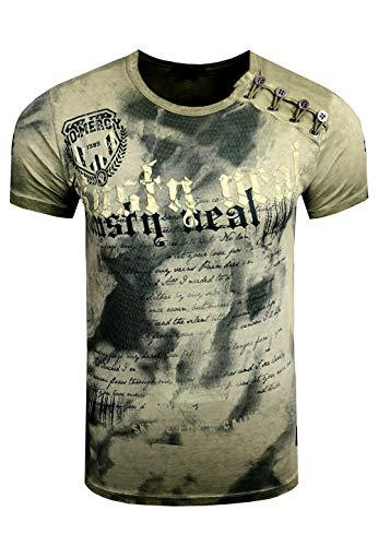 Rusty Neal Batik Herren T-Shirt Front Logo Print Herren Shirt Verwaschen Kurzarm S M L XL XXL 156, Größe:2XL, Farbe:Khaki