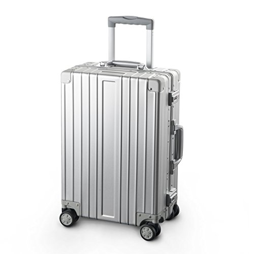 TRAVELKING All Aluminum Luggage Hard Shell Suitcase with Wheels Carry On Spinner Suitcase (Silver 20 Inch)