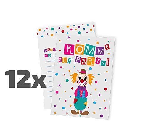 Ideenverlag 12 Clown Einladungskarten zum Kindergeburtstag / Karneval / Fasching / Party / Geburtstagseinladungen / Einladungen / Geburtstag / Kinder / Jungen / Mädchen / Karten / Sets