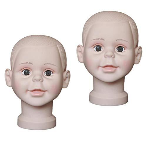 Toygogo 2pcs Kinderkopf Schaufensterpuppe Styropor Mannequin-Kopf Modellkopf Perücke Hüte, Schals, Brillen Display Ständer