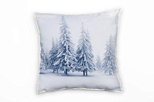 Paul Sinus Art Winter, wit, grijs, sneeuwbedekte naaldbomen decoratief kussen 40x40 cm voor bank bank bank lounge sierkussen - decoratie om je goed te voelen