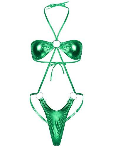 Kaerm Damen Wetlook Bikini Set Neckholder Bandeau BH Mini String Tanga Dessous Set Einteiler Metallic Optiken Bademode String Sexy Reizvolle Latex Glänzend Strandmode Grün OneSize