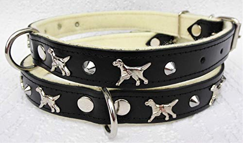 Lusy011 *Setter* Hunde Halsband - HundehalsbandHalsumfang 46-58cm/30mm, Leder. Schwarz (19.9.3.67)