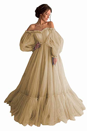 Asulla Long Puffy Sleeve Tulle Prom Dress Off Shoulder Evening Gowns Vintage Party Dresses for Women 2020 Champagne-12