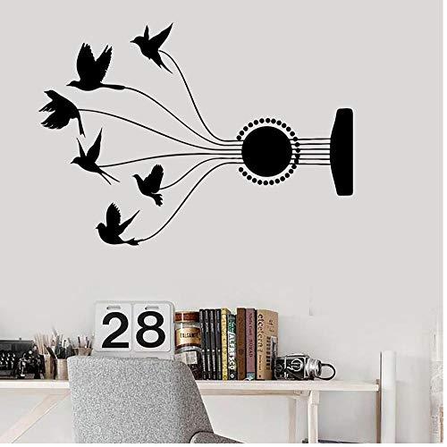 MUXIAND Muurstickers, Gitaar string vogelhuisje PVC DIY muur Art Decal Voor Kids Kamer Home Decor Mural Verwijderbare Zelfklevende waterdicht 57x80cm