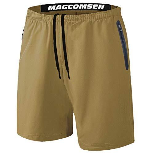 MAGCOMSEN Khaki Shorts for Men Big and Tall Shorts Running Shorts Mens Gym Shorts Summer Shorts Mens Short Shorts Workout Shorts Men