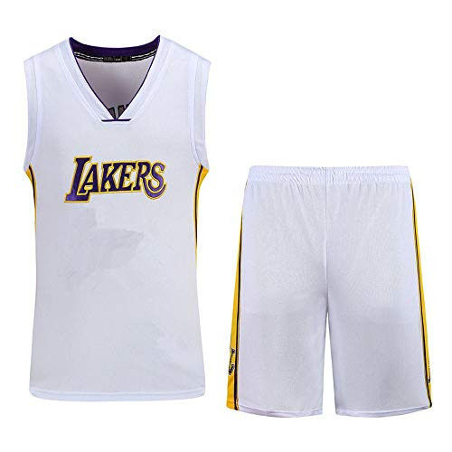 DDSC Baloncesto Uniformes Kids Boy Men Lakers Kobe Traje de Baloncesto Bordado de Jersey Conjunto de Verano Deportivas Camiseta -Ropa De Jersey White-Large