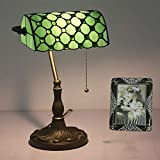 Tiffany Bankers Desk Lamp Vintage Stained Glass Table Lamp for Office & Home TBD-002 Green/Blue/Yellow,Green